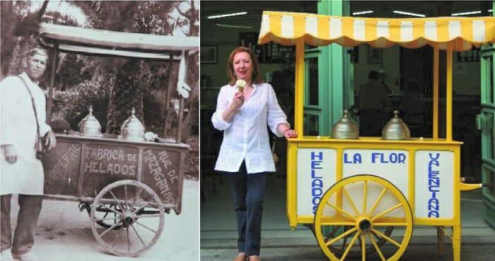 Minerva Company junto al carro de helados en el que su abuelo, José Brotons Picó, comenzó a vender helados en 1927