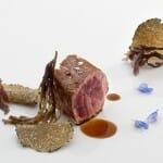 Solomillo de pato reposado entre complementos iodados, virutas y lascas de trufa de verano