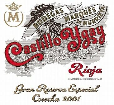 Detalle de la etiqueta de Castillo Ygay 2001