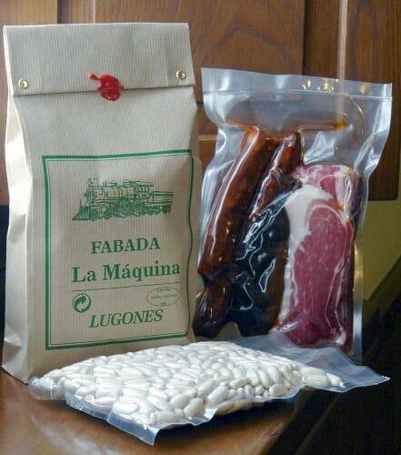 """Paquete de """"La Máquina"""" con los ingredientes de la fabada"""