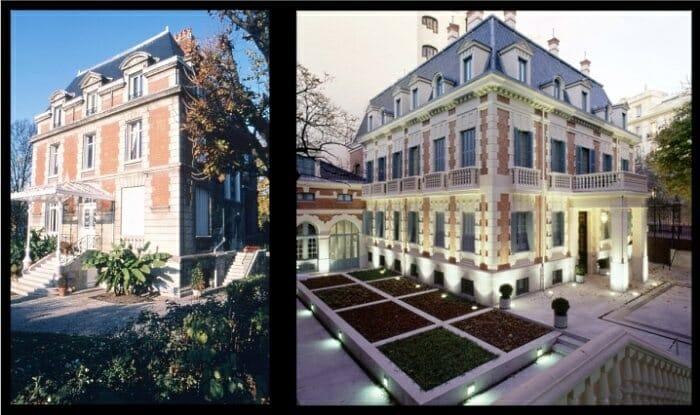 Detalle de la Maison G.H. Mumm y su réplica en el palacete del Hotel Santo Mauro