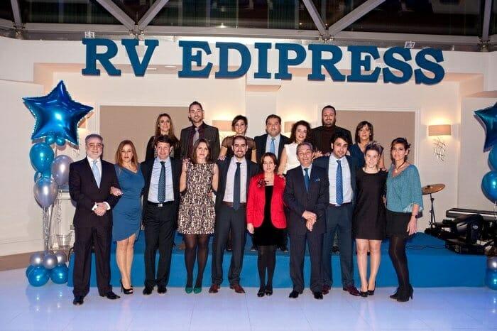 Foto de familia del equipo de RV Edipress durante la fiesta por su décimo aniversario