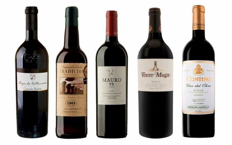 Los cinco primeros vinos de la lista