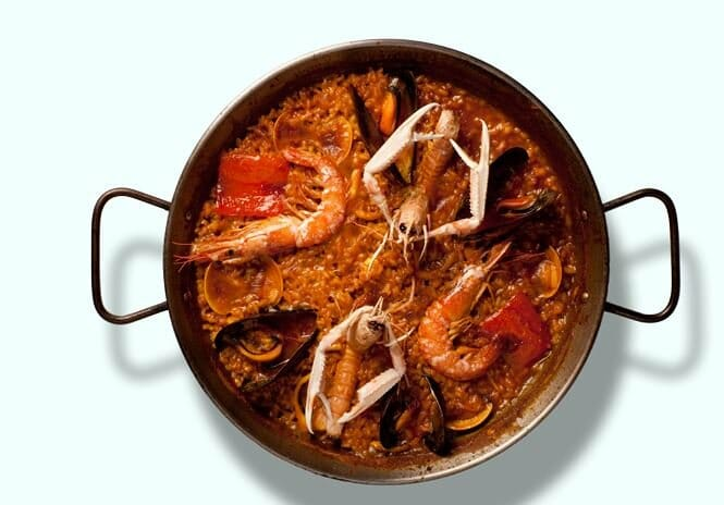 Paella de marisco de la arroceria barcelonesa Elche
